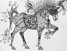 Zentangle Circus Horse Drawing  - Zentangle Circus Horse Fine Art Print
