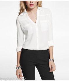 Express Portofino shirt white semi sheer