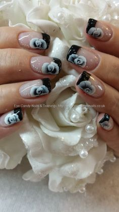 black+tips+with+one+stroke+rose+nail+art