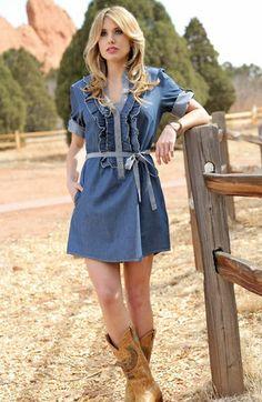 9752d73064c Cruel Women s Short Sleeve Denim Dress - Blue