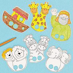 Le principe est simple : on dessine ou imprime sur du carton  un personnage ou un animal. On fait 1, 2 ou + trou-trous pour passer les doigts... Ces doigts deviennent jambes, pattes, nez, ... et...