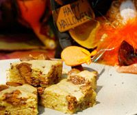 Peanut Butter Cup Blondie's.  Yum.  Perfect way to get rid of left over Halloween candy