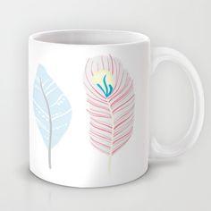 Whimsical Feather Art Mug by Georgie Pearl Designs - $15.00