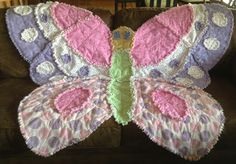 Finally had the opportunity to make the Butterfly Rag Quilt. Baby Rag Quilts, Girls Quilts, Children's Quilts, Butterfly Quilt, Butterfly Baby, Rag Quilt Patterns, Puff Quilt, Animal Quilts, Animal Pillows