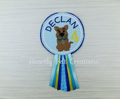 Personalised Dog Birthday Badge Rosette Scooby Doo Mystery Dog Birthday Celebration Party Badge by AHeartlyCraft on Etsy