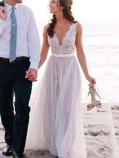 A-line V-neck Lace Appliqued See-through Top Beach Wedding Dresses,apd2449