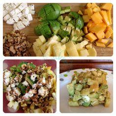 Ensalada exótica de frutas y queso de cabra