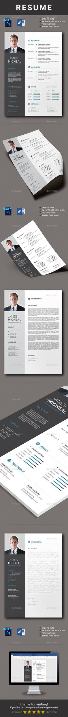 Resume Professional Resume / CV Template with super modern and professional look. Elegant page designs are easy to use and customize, so you can quickly tailor-make your resume for any opportunity and help you to get your job. Job Resume, Resume Tips, Free Resume, Resume Ideas, Web Design, Resume Design, Stationery Design, Design Trends, Cv Template