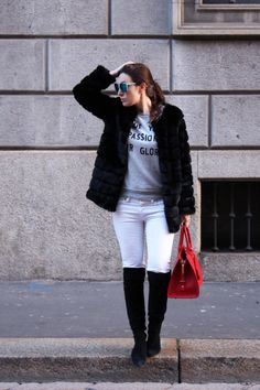 Street Style - Over the Knee Boots, Red bag, White pants, Black faux Fur