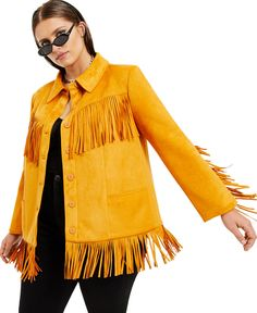Plus Size Faux-Suede Fringe Jacket, Created for Macy's Danielle Bernstein, Blazer Jacket, Suede Jacket, Fringe Jacket, Blazers For Women, Dressing, Ruffle Blouse, Tunic Tops, Plus Size