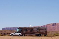 Class A Motorhome and towed vehicle, Goosenecks State Park, Utah, September 30, 2011 (pinned by haw-creek.com)