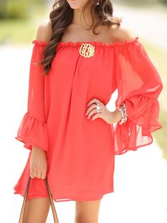 India Red, Off Shoulder, Flare Sleeve, Flounce Hem Dress