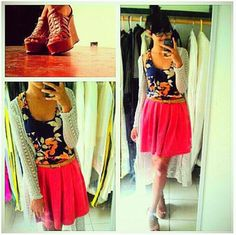 #17FW @adrianne21 pairs the perfect neutral wedge sandals with her pretty skirt/cami/cardigans combo