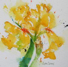 bearded iris, flowers, yellow, watercolor, painting, fine art, Lisa Livoni, Napa Valley artist, colorist