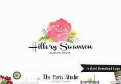DIY Instant Download Logo Template 3 Watercolor Floral Logo for e-commerce website logo, wordpress blog logo, boutique logo, photography branding, wedding logo, website branding design.