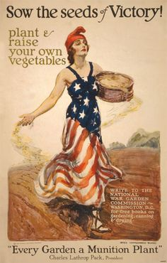 During WWII, victory gardens became a means for non-military citizens to assist in wartime efforts by supplementing their rations with fresh vegetables from the garden.