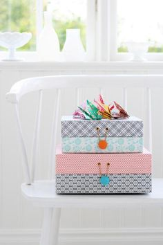 Cover boxes with pretty paper