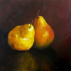 A Pair of Pears  Canvas Print of an Original by ArtPaperGarden, $40.00