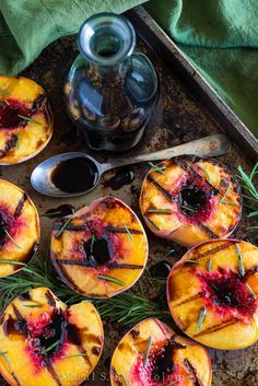 Grilled Peaches with Rosemary & Balsamic Vinegar {vegan, gf}. Whoever says BBQ's aren't elegant hasn't seen this recipe.