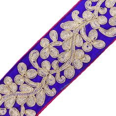 metallic fabric trim | Details about Blue Fabric Trim Metallic Thread Embroidered Tape Craft ...
