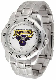 Minnesota State-Mankato Mavericks Sport Steel Band Men's Watch by SunTime. $53.64. This handsome, eye-catching watch comes with a stainless steel link bracelet. A date calendar function plus a rotating bezel/timer circles the scratch resistant crystal. Sport the bold, colorful, high quality NCAA Minnesota State Mavericks logo with pride.