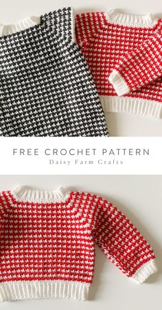 Free Pattern - Crochet Houndstooth Baby Sweater Source by daisyfarmcrafts Sweaters Baby Sweater Patterns, Baby Girl Dress Patterns, Baby Clothes Patterns, Baby Patterns, Boy Crochet Patterns, Crochet Baby Sweaters, Crochet Baby Clothes, Baby Knitting, Baby Cocoon Pattern