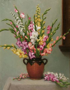 Holly Hope Banks (b. Gladiolus and Delphinium Oil on canvas 30 x 23 inches Signed Flower Vases, Flower Art, Gladiolus Flower, Blue Painting, Delphinium, Types Of Flowers, Fine Art Photography, Still Life, Landscape Paintings