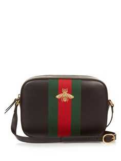 Line bee-embroidered leather cross-body bag | Gucci | MATCHESFASHION.COM