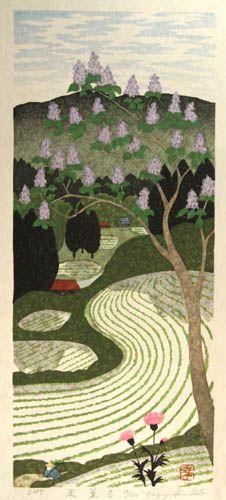 Blooming wind by Kazuyuki Ohtsu (Japan, b.1935). Woodblock print