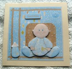 baby boy or baby girl first birthday on Craftsuprint designed by Angela Wake - made by Margaret Scott -