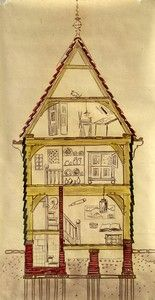 DE RUJP (Pays Bas)  Museum in't Houten Huis  Houtskelet  In de 17e eeuw was het éénbeukige huis het normale woonhuis op het platteland benoorden het IJ. De huizen bestaan uit een grenen houtskelet van een of twee verdiepingen met daarop een houten kap. Voor de spanten werden vaak 'eiken krommers' gebruikt: krom gegroeid eikenhout. De buitenwanden werden gemaakt van horizontale houten planken. De topgevels hadden altijd een verticale beschieting.