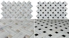"""Our #Carrara White Collection includes this intricate """"Basketweave Strips"""" patterns with grey or black marble square accents.  Less than $18/SQFT in May with our 15% off All Carrara White Products promotion! #CouponCode: """"Carrara15""""  #tilesale #tiles #tile #tiler #tiling #homedecor #interiordesigner #homedesign #interiordesign #interior #flooring #floortiles #walltiles Tile Mosaics, Marble Mosaic, Tiling, Wall Tiles, Basket Weave Tile, Basket Weaving, Tiles For Sale, Italian Marble, Marble Countertops"""
