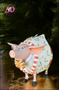 2014 Patience Brewster Krinkles, Norbert Dressed Up Pig Ornament