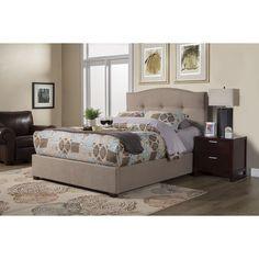 Alpine Amanda Tufted Upholstered Bed (Amanda King Tufted Upholstered Bed), Beige, Size Eastern King