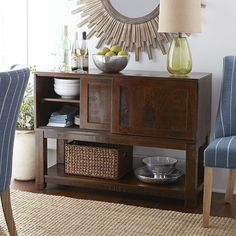 Parsons Buffet- Tobacco Brown | Pier 1 Imports. This buffet / side board would also look very nice to use as a TV console table. It has nice storage space, is a unique style, and the color is great!