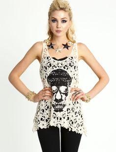 love culture skull lace tank top