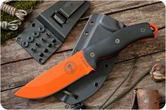 ESEE Knives: 5P SPECIAL EDITION Fixed Blade Survival / Outdoor / Hunting / Camping / Hiking / General Purpose / Bushcraft Knife w/ Blaze Orange Plain Edge Blade With t-k-c Custom Black G10 Handle