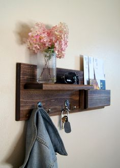 Entryway Organizer Mail Storage Coat Hooks Key Hooks - This custom built flush-mount organizer is made using solid wood and can be stained or painted to fit your style. Two double coat hooks provide storage for your keys, bags, backpacks and other necessities...and they're strong enough for your heaviest of jackets!