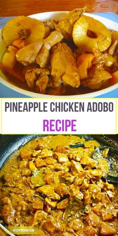 Eaten, as always, with rice, this pineapple chicken adobo recipe is perfect for dinner and lunch. This dish is also the perfect viand for bringing to picnics and long travels because of the preserving(Whole Chicken With Vegetables) Filipino Dishes, Filipino Recipes, Asian Recipes, Filipino Food, Pinoy Food, Pineapple Recipes, Pineapple Chicken, Pineapple Syrup, Pineapple Slices