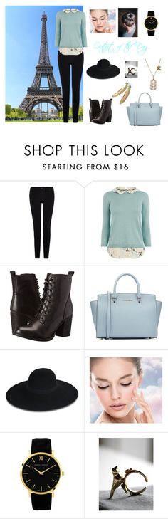 """""""Outfit 6"""" by directioner1608 ❤ liked on Polyvore featuring Warehouse, Oasis, Steve Madden, MICHAEL Michael Kors, Maison Michel, Maybelline, Larsson & Jennings and Freebird"""