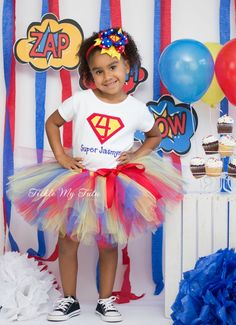 Supergirly Superhero Themed Birthday Tutu Outfit (Red, Blue, Yellow)...www.ticklemytutu.com