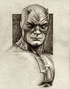 Daredevil Sketch Portrait by benke33 on @DeviantArt