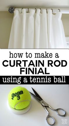 Budget window treatment idea. DIY window decorating. Check out this EZ, fast, and affordable way to add colorful finials to your curtain rods for pennies. Use your favorite fabric to coordinate with your decor.   In My Own Style