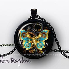 Steampunk Butterfly Necklace, Silver Butterfly Pendant, Glass Photo Jewelry Gift by SilverRapture on Opensky