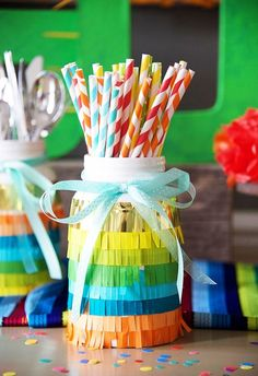 Mason Jar adorned in Paper Fringe from a Cinco de Mayo Themed Birthday Party via Kara's Party Ideas KarasPartyIdeas.com (15)