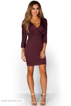 """""""Mirabella"""" Burgundy Red 3/4 Sleeve Wrap Front Fitted Jersey Dress"""