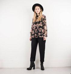 AMAZING Vintage Sheer Black and Pink Floral Oversized Blouse /