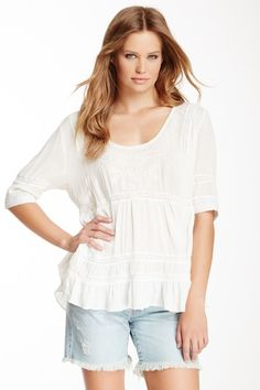 Tiered Peasant Long Sleeve Woven Top by True Religion on @HauteLook