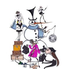 """""""Do you wanna build a ⛄️???"""" A Very Connor Xmas, featuring #annawintour #annadellorusso #stevenmeisel #karllagerfeld #naomicampbell and #vogueintern @connornyc @karllagerfeld @voguemagazine @barneysnyofficial #art #fashionillustration #holidaycard #snowman #thedailyscribble #connornyc #happyholidays"""