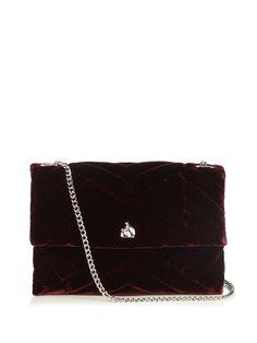 LANVIN Mini Sugar quilted-velvet cross-body bag. #lanvin #bags #shoulder bags #leather #velvet #lining #